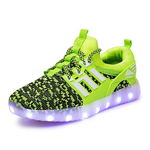 H-Mastery Unisexe enfants LED Chaussures 7 Couleur USB Charge Chaussure Lumineuse Clignotants Sports Chaussures Printemps-Été-Automne Respirante Lumineuse Chaussure Vert