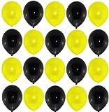 25 Premium Luftballons schwarz / gelb Markenqualität Helium Ballongas geeignet Naturlatex 100% giftfrei Geburtstagsparty Hochzeit Partyballon Bunte Ballons