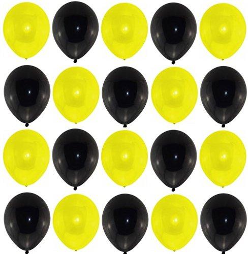 ns 25 schwarz 25 gelb Markenqualität Helium Ballongas geeignet Naturlatex 100% giftfrei Geburtstagsparty Hochzeit Partyballon bunte Ballons Weihnachten Silvester Borussia Dortmund, BVB (Gelb Ballon)