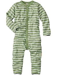 wellyou, Schlafanzug, Pyjama für Jungen und Mädchen, Einteiler langarm, Baby Kinder, grün weiß gestreift, geringelt, Feinripp 100% Baumwolle, Größe 56-134
