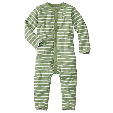wellyou, Schlafanzug, Pyjama für Jungen und Mädchen, Einteiler langarm, Baby Kinder, grün weiß gestreift, geringelt, Feinripp 100% Baumwolle, Größe