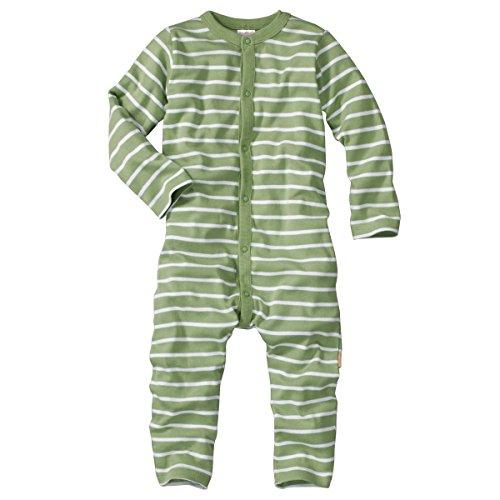 wellyou, Schlafanzug, Pyjama für Jungen und Mädchen, Einteiler langarm, Baby Kinder, grün weiß gestreift, geringelt, Feinripp 100% Baumwolle, Größe 50-134