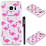 BtDuck Hülle für Samsung Galaxy S7 Edge Silikon Transparent Rosa, Durchsichtig TPU Silikon Schutzhülle Transparent Bumper Cover Tasche Handyhülle Protective Case Bumper - Flamingo