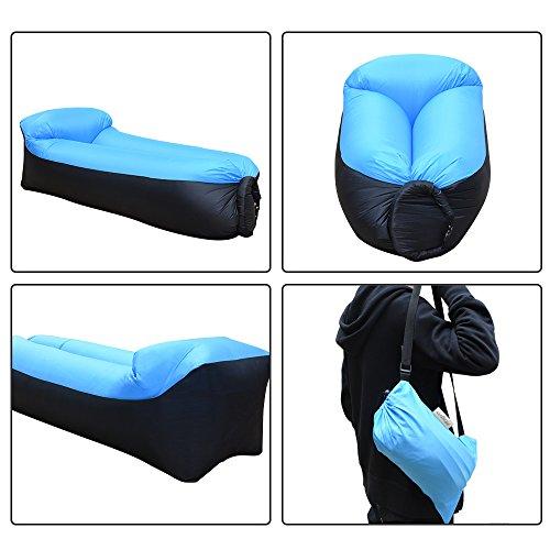 iRegro wasserdichtes aufblasbares Sofa mit integriertem Kissen, tragbarer aufblasbarer Sitzsack, Aufblasbare Liegecouch, aufblasbares Outdoor-Sofa für Camping, Park, Strand, Hinterhof (blauschwarz) - 3