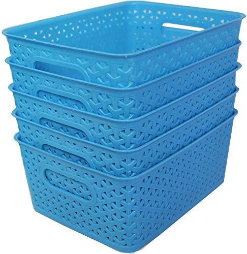 Xllent® Blue Basket (Set of 5) for Multipurpose Use/Fruit & Vegetable Basket/Storage Basket/Makeup Organiser/Office Stationary Storage/Bins/Organiser/Container Box, Size in cm {26 + 20+ 11}