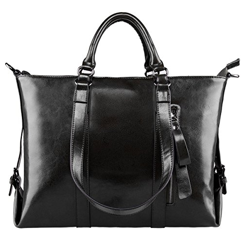 S-ZONE Frauen 3-Weg-Tragen Echtes Leder Tasche Handtasche Schultertasche (Tasche Echte Damen)