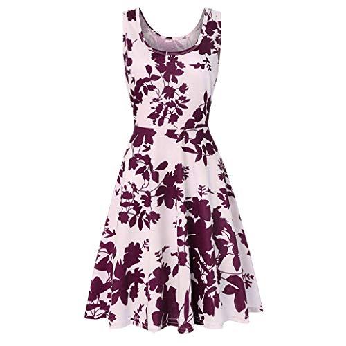 (B-commerce Scoop Neck Blumendruck Tunika Kleid Frauen Sommer Strand Ärmellos A-Linie Lässig Blumenkleid Plissee Schlank Retro Kleid)