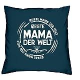Mama Polster-Deko-Stuhl-Kissen mt Füllung Gratis Urkunde Beste Mama der Welt Geschenkset Geburtstag Vatertag Weihnachten Farbe:navy-blau