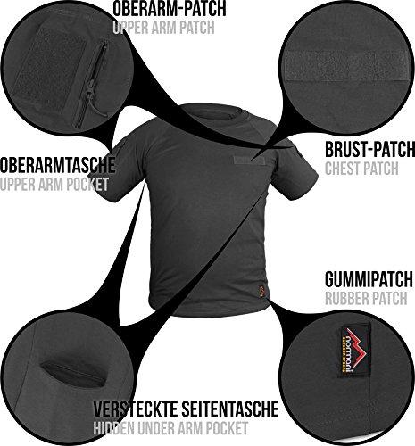 Tactical BDU Kampfshirt T-Shirt mit Klettpatches, Armtaschen & versteckten Seitentaschen Schwarz