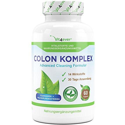 Colon Komplex, 30 Tage Kur, 60 Kapseln, natürliche Darmreinigungsformel mit Flohsamenschalen, Milchsäurebakterien, Glucomannan, Vitamin C, Calcium, 14 hochdosierte Wirkstoffe,