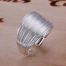 joyliveCY 2016- Anillo para mujer de plata de ley 925, diseño elegante de aros, abierto