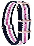 MOMENTO Damen Herren NATO Nylon Uhren-Armband Ersatz-Armband Uhren-Band mit Edelstahl-Schliesse in Rosegold und Nylon Uhr-Armband in Blau Weiss Rosa 20mm