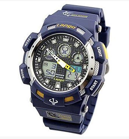 GamutTek Pasnew diving watch waterproof 100m swimming stopwatch analog digital wrist watches men sport watches for men (DarkBlue)