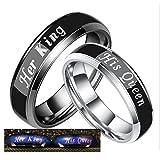 Daesar 2 x Freundschaftsringe Edelstahl Ringe für Paar mit Gravur His Queen Her King Breite 6 MM Verlobungsringe Silber Schwarz Ringe Damen Herren Damen Gr.57 (18.1) & Herren Gr.57 (18.1)