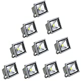 SAILUN 10W LED Strahler Kaltweiß Fluter Licht Scheinwerfer Außenstrahler Wandstrahler Aluminium IP65 Wasserdicht 10 Stück Silber