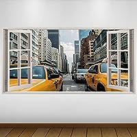 EXTRA GRANDE Amarillo los taxis de Nueva York Ciudad de vinilo 3D Póster - Mural Decoración - etiqueta de la pared -140cm x 70cm