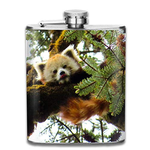 Steel Stainless Flask,Tracking Nepalese Red Panda Pocket Funnel,Screwed Top Liquor Alcohol Whiskey Spirits Hip for Men,7 OZ