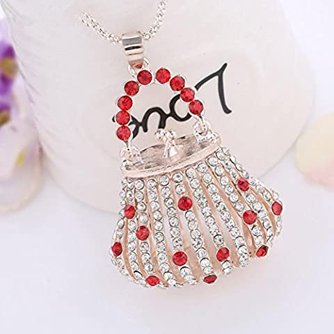 XXFFH Necklace Pendant Fashion Alloy Striped Hollow Diamond Pearl Necklace Collar A Collar For A Horse, Red