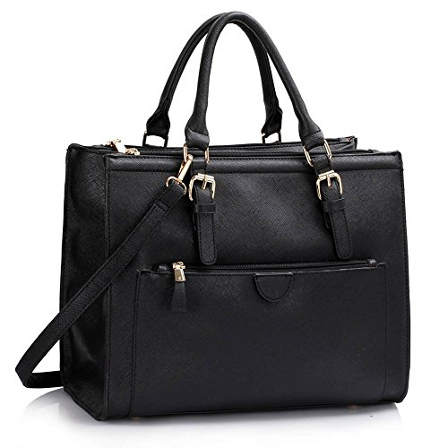 Trays for women (Braun) Haltegriffe Kunstleder Damenhandtaschen -Designer-Tasche Fronttasche Schwarz