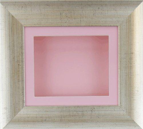 BabyRice Deep box display Frame per oggetti in 2D e 3D medaglia Keepsake Baby Casts 1st stivaletti rosa effetto argento antico/supporto/fiori rosa di