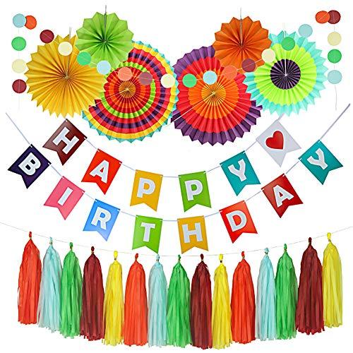 Hivexagon Set de 20 Vistoso Kit de Fiesta: Pancarta de Feliz Cumpleaños,...