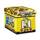 Relaxdays Faltbare Spielzeugkiste Giraffe HBT 32 x 48 x 32 cm stabiler Kinder Sitzhocker als Tier Spielzeugbox Kunstleder mit Stauraum ca. 37 l und Deckel zum Abnehmen für Kinderzimmer