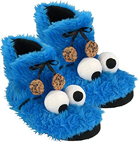 Sesame Street Cookie Monster Plush Slippers Booties (0122032Size 41/42
