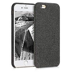 kwmobile Hülle für Apple iPhone 6 / 6S - Case Handy Schutzhülle Stoff - Backcover Cover Canvas Design Schwarz