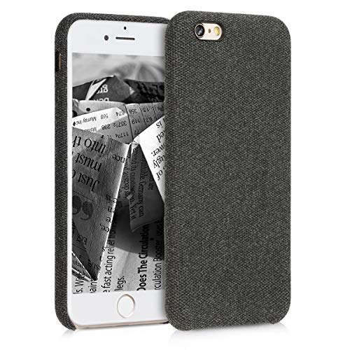 kwmobile Hülle für Apple iPhone 6 / 6S - Case Handy Schutzhülle Stoff - Backcover Cover Canvas Design Schwarz