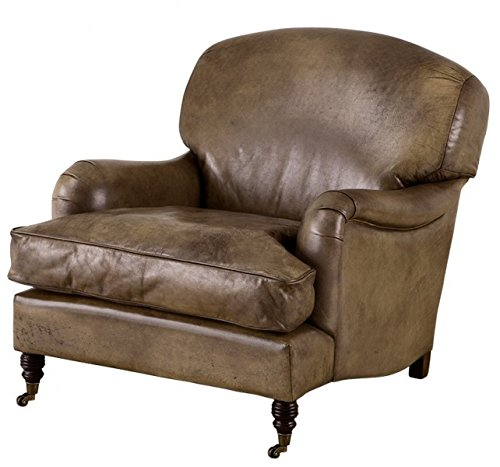 Chesterfield Luxury Real leather wing chair Vintage Leather Olive Casa Padrino - Club (Leather Club Chair)