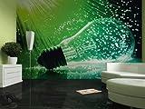 Fototapete Glühbirne vor grüner Glasfaserlampe - Größe 360 x 270 cm, vierteilig