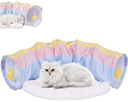سرير حيوانات اليفة بتصميم كهف مع حصيرة وسادة بالوان قوس قزح، لعبة كرات الخدش التفاعلية للقطط، مع مرتبة قابلة للازالة والغسل،