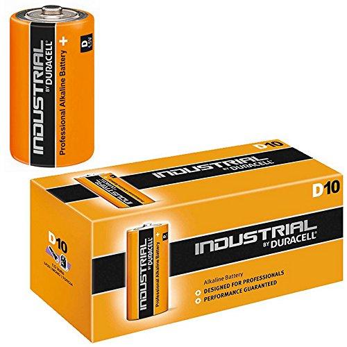 Piles alcalines mono (d), duracell-industrial-lot de 10