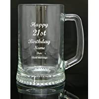 Personalised Engraved Quality Glass Tankard Gift, 21st Birthday Design, Gift Box, Engraved Free