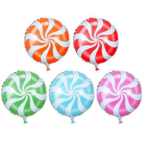 10 PCS 18-Zoll-Lollipop Geformte Aluminium Folie Film Aufblasbaren Ballons Geburtstag Hochzeit Party Dekoration Metallic Ballon zufällige Farbe (Lollipop Dekorationen Geburtstag)
