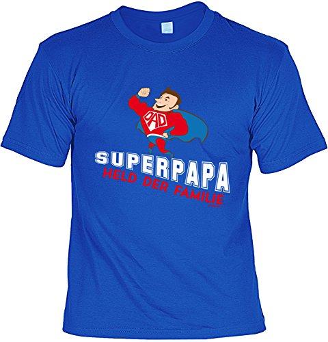 Fun T-Shirt zum Vatertag: Superpapa. Held der Familie - Geschenk, Geburtstag, Vatertagsausflug - royalblau Royalblau