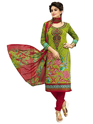 PShopee Women's Synthetic Embroider Unstiched Salwar Suit Dress Material Light Green and...