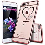 "Coque iPhone 7 Plus,Étui iPhone 7 Plus,Coque Étui Case pour iPhone 7 Plus,ikasus® Plating Rose Golden Placage or rose Coque iPhone 7 Plus Silicone Étui Housse Téléphone Couverture TPU Clair éclat Bling Bling Brillant Scintillant Cristal Glitter Diamant strass avec Papillon Une fleur motif Ultra Mince Premium Semi Hybrid Crystal Clear Flex Soft Skin Extra Slim TPU Case Coque Housse Étui pour Apple iPhone 7 Plus(5.5"") - Or Rose Coeur Mini Amour"