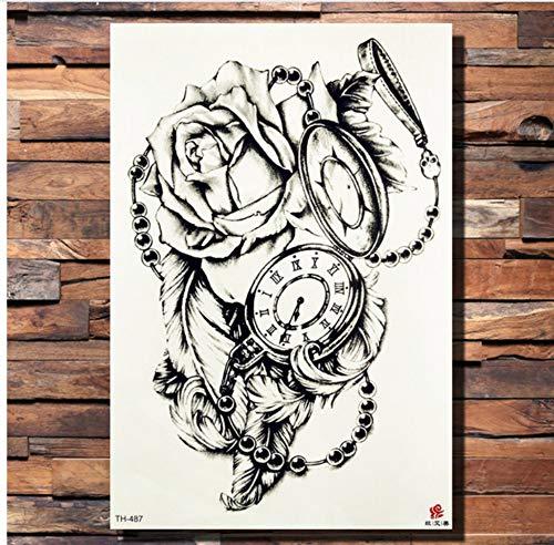 ruofengpuzi Tattoo AufkleberKrone Schädel Anker Blume Temporäre Tätowierung Aufkleber Rose Piraten Taschenuhr Herz Schwarz Tattoo Body Art Arm Gun Gefälschte Tätowierung