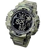 LAD WEATHER Exteriores Reloj Militar Cronómetro Marcador de Pasos Camuflaje Resistente al Agua 100 m (cmgr-BK)