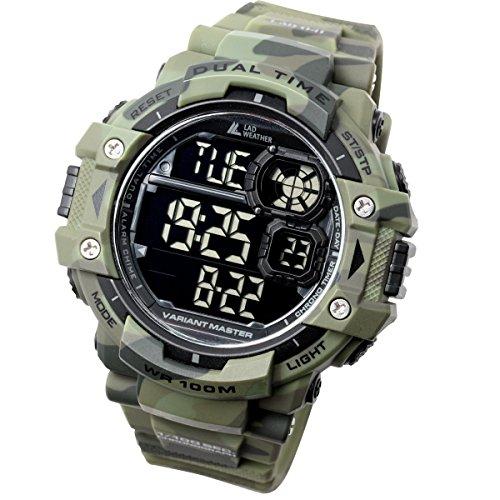 [LAD WEATHER] Militäruhr/Camouflage/Stoppuhr/Uhr mit Pacer-Funktion/Outdoor/100m wasserdichte Herrenuhr