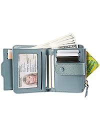 dca6cefbed2506 Damen Geldbörse, JOSEKO echt Leder Geldbeutel Brieftasche mit RFID Schutz  Portmonee Portemonnaie Geldtasche mit Druckknopf…