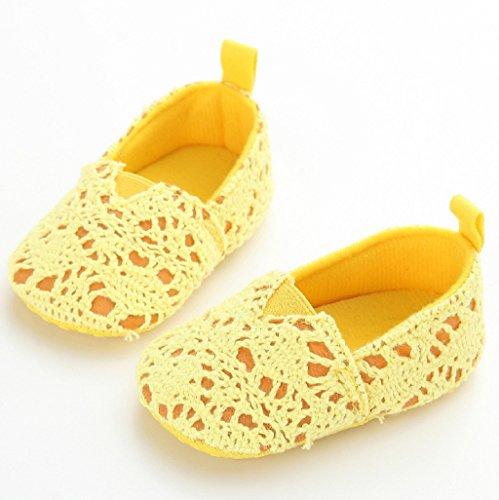 Auxma Baby-Mädchen-weiche Sole-Krippe-Schuh-Kleinkind-neugeborene Sommer-Herbst-Schuhe für 0-18 Monat (12cm(6-12M), Weiß) Gelb