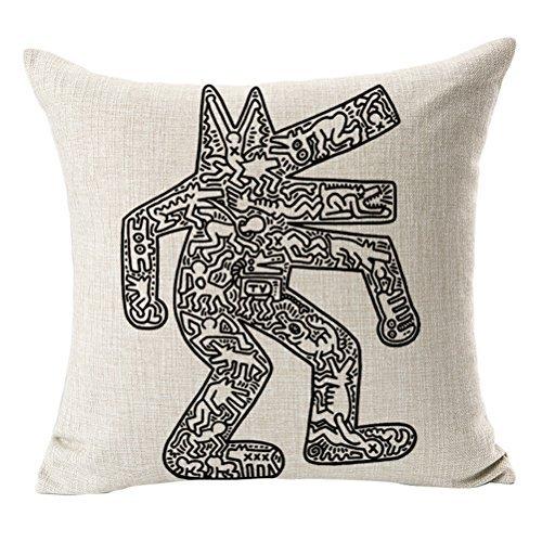 Überwurf Kissen, cosydeal Home dekorativer Moderner Keith Haring Abstrakt Graffiti Drucken Baumwolle Leinen Quadratisch Überwurf Kissenbezug Kissen Fall, 45,7x 45,7cm (B) Deep Teal Kissenbezüge
