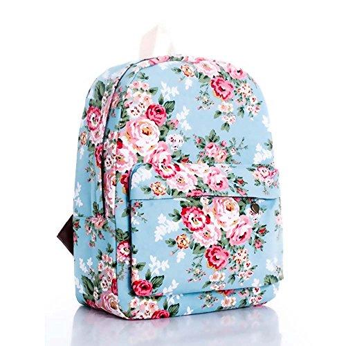 OUFLY Deep Blue & Plum Flower Vintage bedruckte Blumensegeltuch Rucksack Schule Laptop Tasche Outdoor Knapsack Tasche für Frauen Mädchen Jugend Hellblau & Rosa Rose