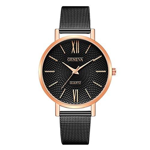 Armbanduhr Uhr für Weibliche Studenten Mädchen Damen Uhrenarmband dünne Edelstahl Band-analoge Quarz Uhr LMMVP (Roségold 1)