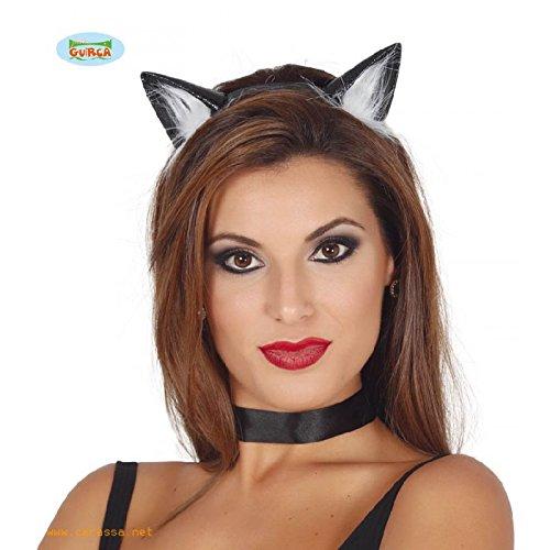 Guirca Schwarze Katzen Ohren weißes Fell für Damen Karneval Fasching Party Schwarz Katze (Set Und Katze Ohren Schwarz Schwanz)