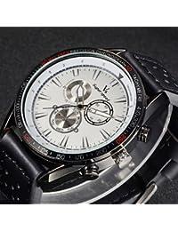 Relojes Hermosos, Correa de cuero de diseño de moda de cuarzo de los hombres del reloj V6 informal ( Color : Blanco , Talla : Una Talla )