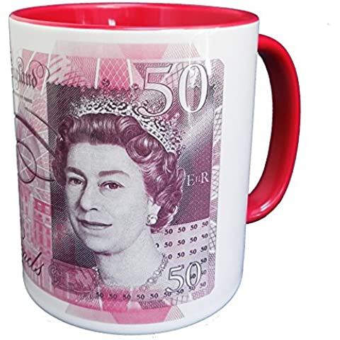 Bank of England £50 Banknote Mug (Series F) with red glazed handle and inner
