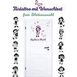 *NEU* Aufkleber - Sticker für Wände,Türen uvm ***Kindermotiv mit Wunschtext & Schmetterlingsset ***(Größen.- Ausrichtung und Farbauswahl)